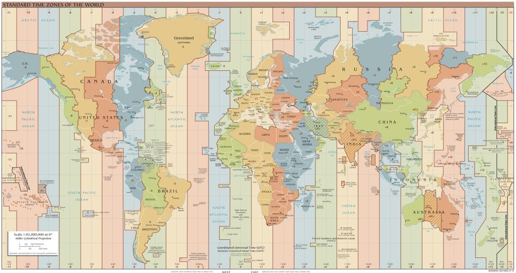 Weltkarte mit Zeitzonen: Kontinente und Länder mit ihren Zeitzonen als Wanduhr