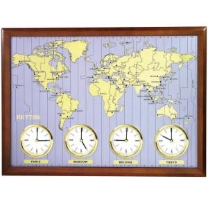 Weltzeituhr Weltkarte – Wanduhr Quarz vier Uhren
