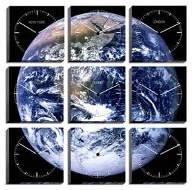 Weltzeituhren Design Planet Erde 3x3 Uhren