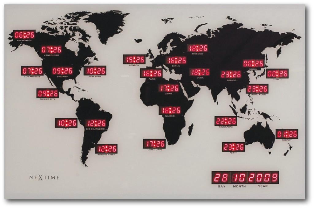 Nextime Weltzeit Wanduhr 2897 Weltkarte rote LED Anzeige