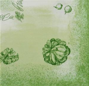 Papierservietten mit Grünkohl-Muster