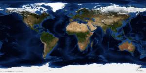 Weltkarten-Weltzeituhr selber bauen - Topografische Ansicht der Erde, Satellitenbild NASA