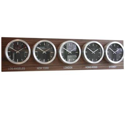 Zeitzonenuhr Walnussholz, schwarze Ziffenblätter, fünf Zeitzonen
