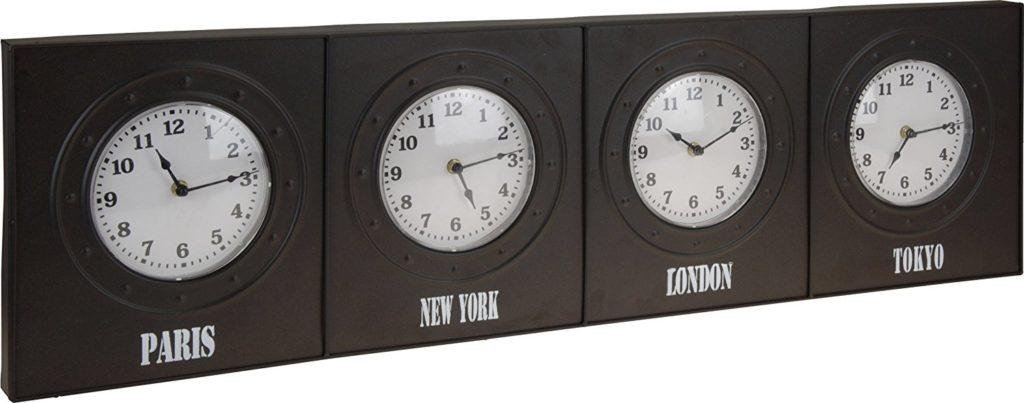 Wanduhr / Weltuhr / Bürouhr – 4 Zeitzonen, Metall
